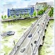 MTさんの絵封筒 ~信濃川にかかる万代橋